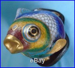 Vintage Metal Fish Vibrant Enamel Paint Asian Sculpture on Wood Stand