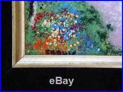Vintage Mid Century Modern Mini Enamel Copper Painting Framed Art Louis Cardin