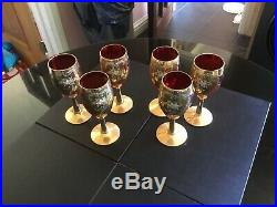 Vintage Murano Art Glass Set Of Six Wine Goblet Hand Painted With Enamel & Gild