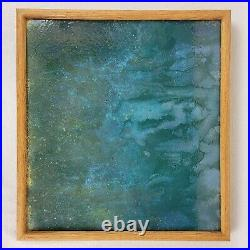 Vintage Original Abstract Art Expressionism Baked Enamel Drip Painting Framed