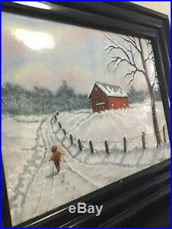 Vintage Painting By Dominic Mingolla Enamel on Copper Winter Scene, Wood Frame