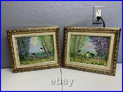 Vintage Pair of Enamel On Copper Paintings By LOUIS CARDIN Framed Signed