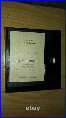 Vintage Pierre BONNET Enamel Emaux De Limoges House in the Woods signed PBonnet