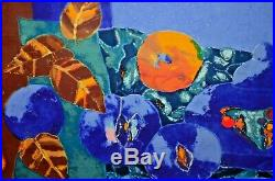 Vintage SETSUKO MIGISHI Mid Century Modern Floral Still Life Enamel Oil Painting