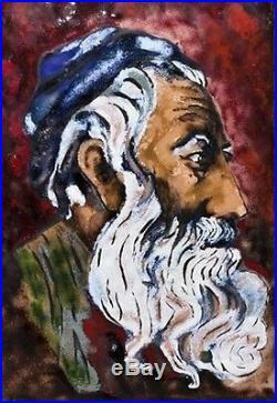 Vintage Signed Judaica Painting of Rabbi Enamel/Copper Letter of Sale 1965 /Back