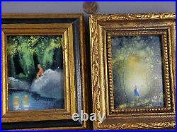 Vintage Two Max Karp Enamel on Copper Painting Swimming & Girl in the Woods