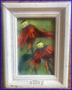 Vintage Ukrainian Art K. Szonk Rusych Enamel Copper Art Poppy Plant 6x4