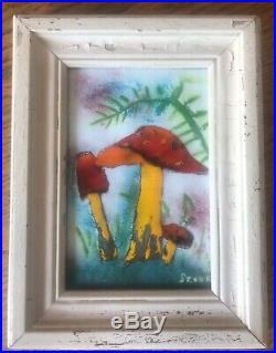 Vintage Ukrainian Art K. Szonk Rusych Enamel Copper Art Red Cap Mushrooms 6x4