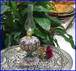 Vintage Victorian Blue Enamel Painted Art Glass Peg Lamp Oil Lamp Font Handmade