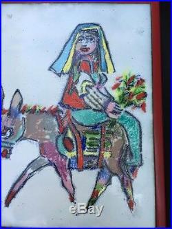 Vintage Yugoslavian artist JOVAN OBICAN original signed Enamel PAINTING