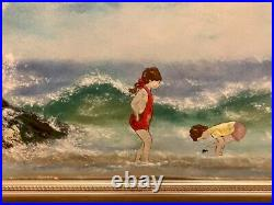 Vintage art enamel painting on copper by French artist Jean Lucey signed framed