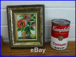 Vintage enamel copper signed K. Szonk Rusych orig label from New York gallery