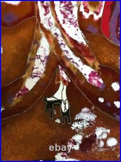 Vintage enamel on copper Geisha cloisonné painting Art Deco Art Nouveau MCM