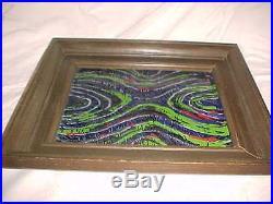 Virginia Salemme Modern Enamel Copper Art Plaque Painting Midcentury Abstract Nr