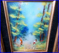 Vtg ART Enamel on Copper Painting Artist Signed Children Carved Frame