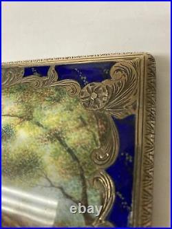 Vtg Art Deco Engraved 800 Silver Enamel Painted Italian Cigarette Card Case