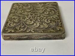Vtg Art Deco Engraved 800 Silver Enamel Painted Italian Compact Powder Mirror