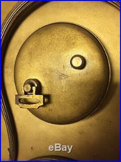 Vtg Art Deco Waltham Mantle Clock Bronze Enamel Geometric Painted Celluloid Dial