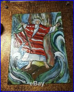 Vtg Enamel On Copper Judaica Painting Plaque Moses Parting The Sea