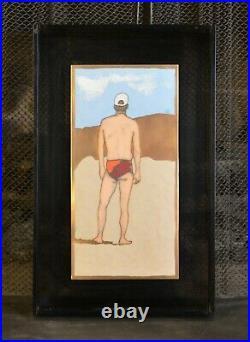 Vtg Enameled Oil on Copper Big Macho Guy on Beach Fun Folk Art Mary Klein