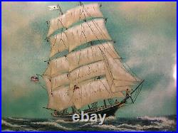Vtg FOLK ART PAINTING on ENAMEL SIGNED FRAMED NAUTICAL SAILING SHIP CLIPPER