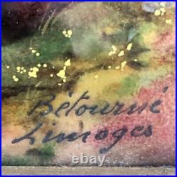 Vtg Limoges R Betourne French Enamel Painting Convex on Copper Sheep Framed