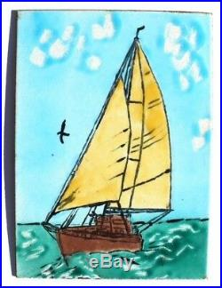 Vtg Mel & Fran Harrison Custom Art Enamels California Sail Boat Hand Paint Sign