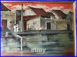 Vtg Vietnamese Painting by NGUYEN TUNG NGOC graphic enamel Colonial landscape