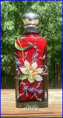Webb Moser Red Cased Hand Painted Enameled Art Glass Sterling Silver Top Perfume