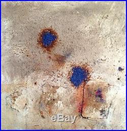 Wilfredo Arias Original Painting Blue Rust Enamel, Collage Elements On Canvas