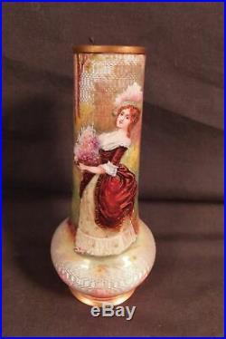Wonderful 19th c. Miniature Portrait Guilloche Enamel Cabinet Vase signed