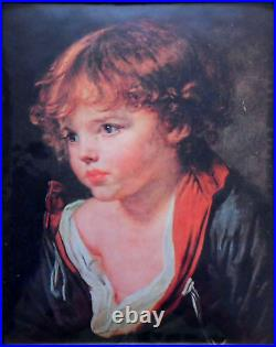 Young blond boy with open shirt Miniature on enameled copper plate (GREUZE)