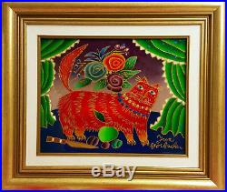 Yuri Gorbachev Original Painting, RED CAT, Oil on canvas, gold, enamel with C. O. A