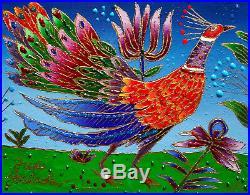 Yuri Gorbachev Original Painting The fire Bird oil on canv, gold, enamel